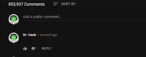 Blank Comment on Youtube